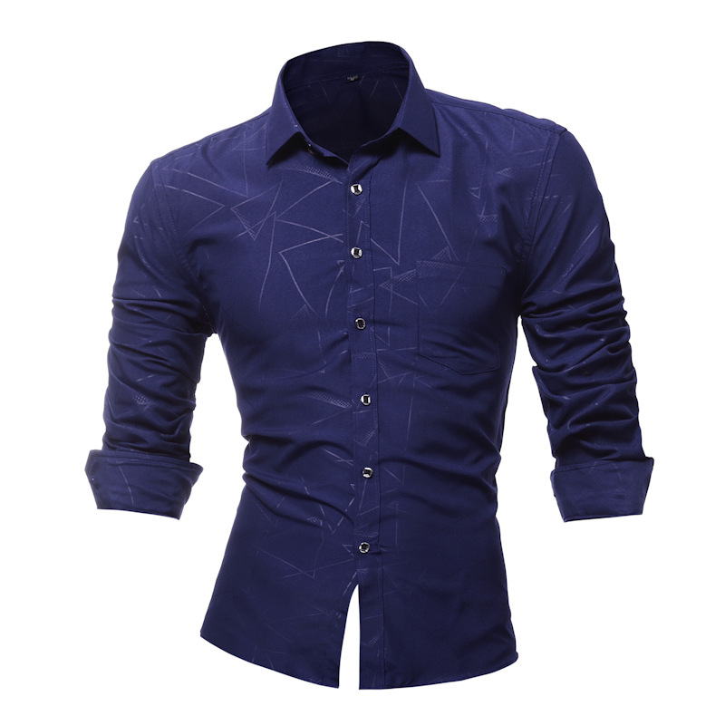 2018 Mens Dress Shirts Long Sleeve Slim Fit Casual Man Chemise Homme New Fashion Classic Embossed Striped Shirts Brand-clothing