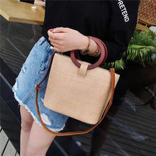 2019 new fashion straw bag handbag female summer rattan hand-woven beach circle bohemian