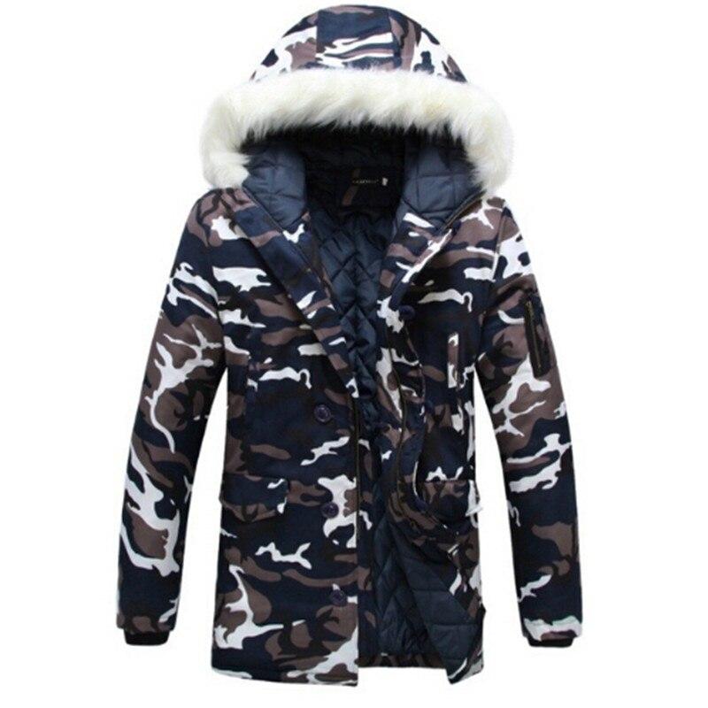ФОТО 2016 New Winter Men Camouflage Down Jacket Brand Warm Jacket Sportswear Men Casual Thicken Long Army Jacket Size M-XXXL
