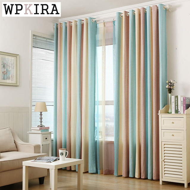300cm High Blue Yellow Brown Striped Jacquard Art Modern Fancy Cotton Linen Curtain Cloth Voile Tulle