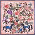 130x130 cm Лошадь Квадратных Шарф Женщин Модные Цветочные Шелковые Платки Твилли Многофункциональный Бандана Новый