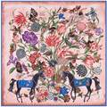 130x130 cm Horse Square Scarf Women Fashionable Floral Twilly Silk Foulard Multifunctional Bandana New