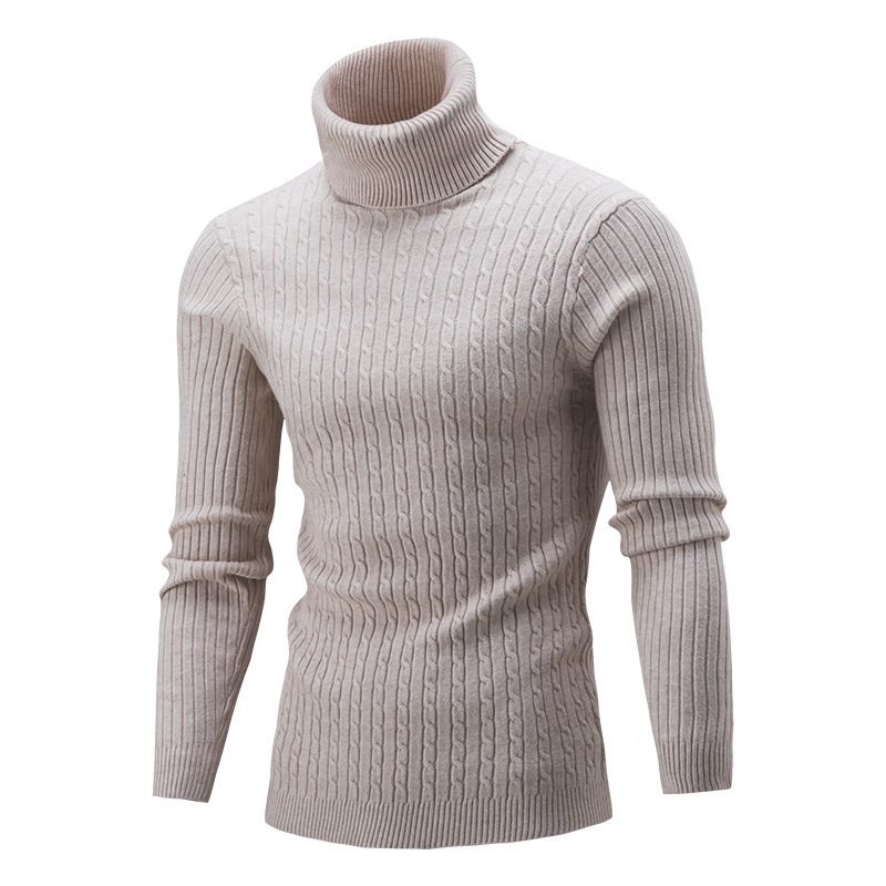 2019 Autumn Warm Turtleneck Sweater Men Fashion Solid Knitted Sweater Male Casual Double Collar Streetwear Slim Fit Pullover Top