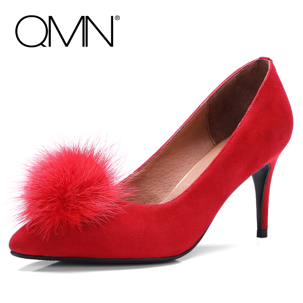 QMN women mink fur pompom embellished suede pumps Women Sexy Pointed Toe High Heels Shoes Woman Genuine Leather Dress Pumps qmn women crystal embellished natural suede brogue shoes women square toe platform oxfords shoes woman genuine leather flats