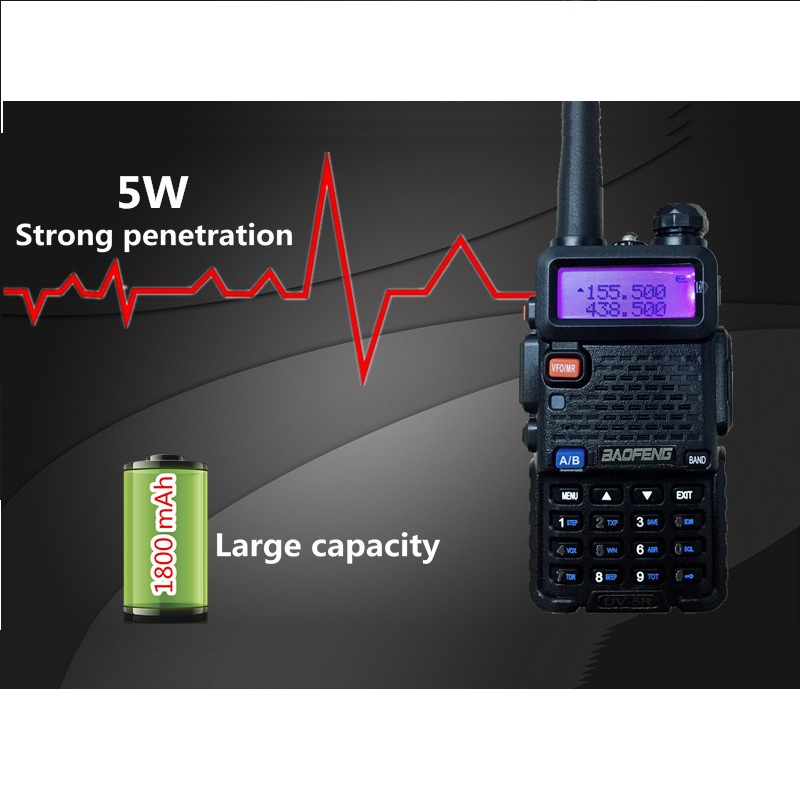 1PC Baofeng UV-5R Walkie Talkie UHF VHF Portable CB Ham Radio Station Amateur Police Scanner Radio Intercome HF Transceiver UV5R