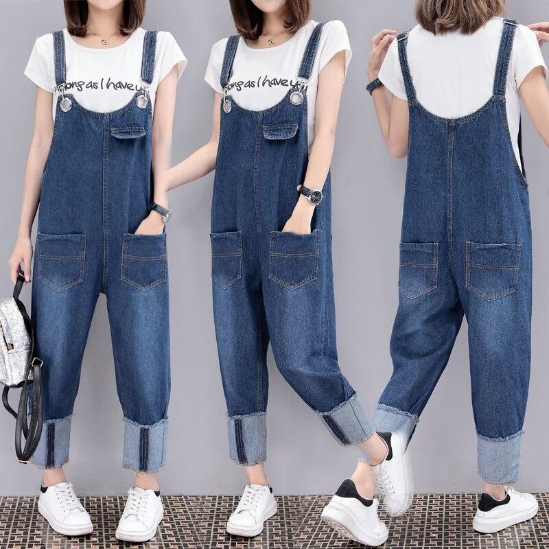 Women's Clothing Plus Size 5xl Casual Loose Denim Jean Bib Work Garden Pregnant Harem Overalls Jumpsuits Sleeveless Romper Ankle Length Jeans Jeans
