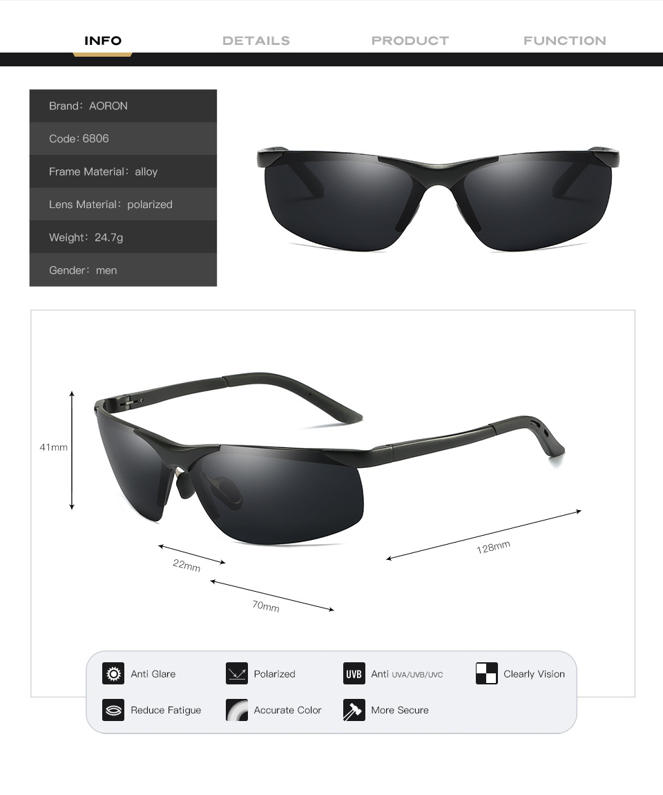 Bruno dunn 2020 Men Sunglasses Polarized uv400 high quality oculos de sol masculino oversized sunglases lunette soleil homme 6