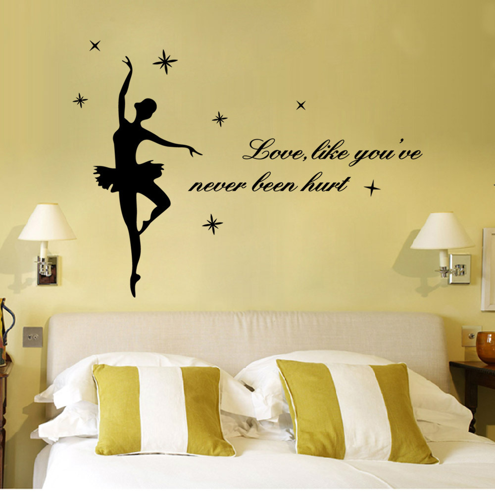 English Wall Sticker Love Like You\'ve Dance Decoration Dance Room ...