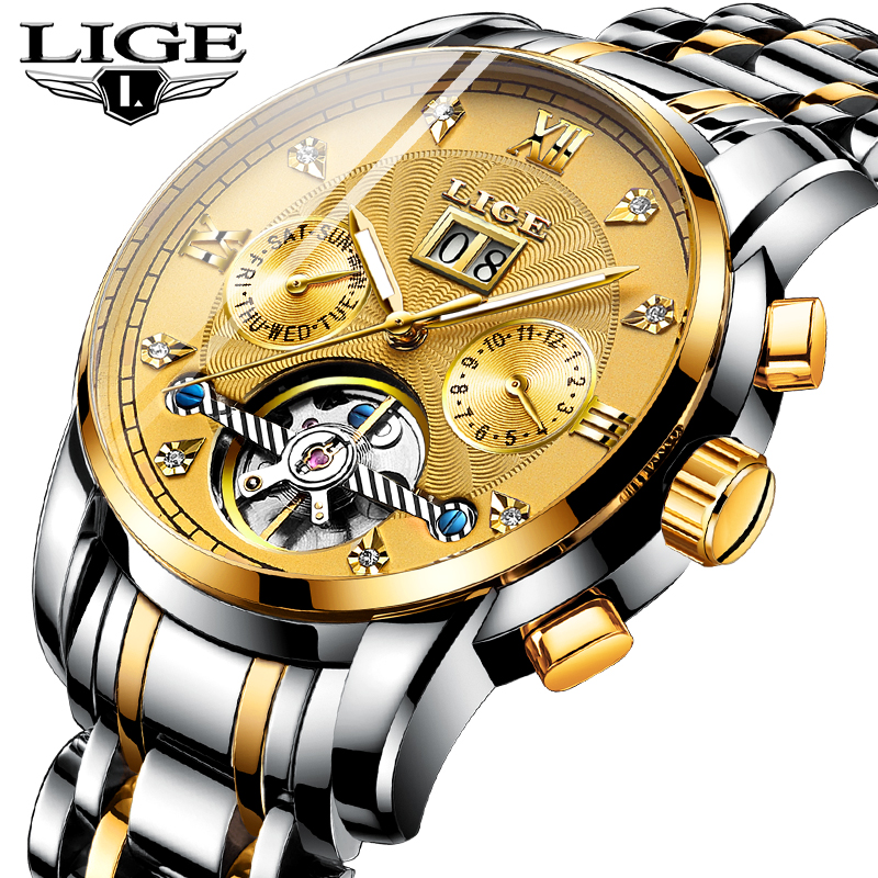LIGE Top Brand Luxury Men Watches Automatic Mechanical Watch Men Waterproof Sport Full Steel Business Men Watch Relogio MasculinLIGE Top Brand Luxury Men Watches Automatic Mechanical Watch Men Waterproof Sport Full Steel Business Men Watch Relogio Masculin
