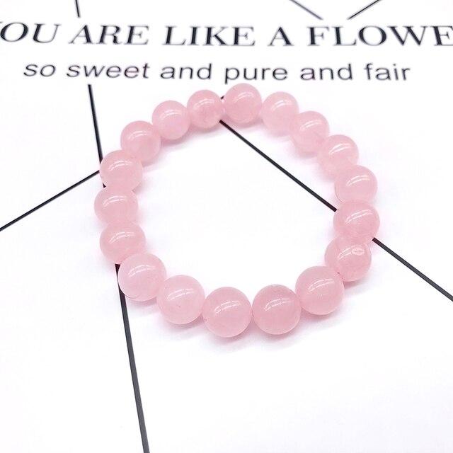 Atacado rosa rosa em pó de cristal quartzo pedra natural streche pulseira elástico cabo pulserase jóias grânulos amantes presente da mulher