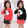Anlencool Nueva Primavera 2017 niños Coreanos de las muchachas de suéter de algodón traje de falda de la señora de la historieta de dos piezas de bebé niña de la capa + falda