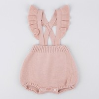 2018 Autumn Newborn Baby Princess Wool Clothes Fart Clothing Siamese Climb Clothes Rompers Overalls