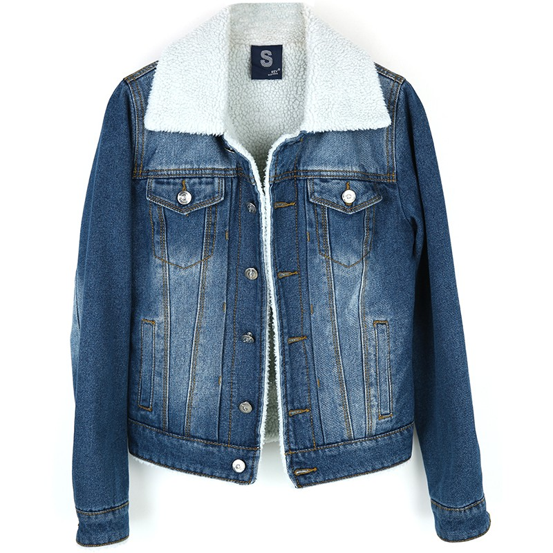 New Winter Casual thicken Women lambswool Denim Cotton Coat Long Sleeve clothes Girls Slim Warm Outwear Denim   Basic     Jacket   coats
