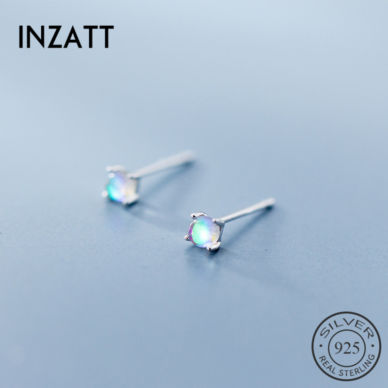INZATT Real 925 Sterling Silver Gradient Glass Minimalist Classic Stud Earrings For Women birthday party FINE Jewelry Gift