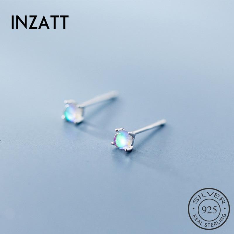 INZATT Real 925 Sterling Silver Gradient Glass Minimalist Classic Stud Earrings For Women birthday party FINE Jewelry Gift