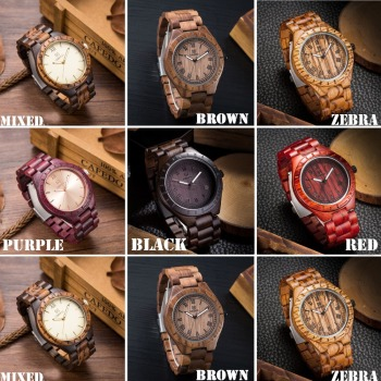 UWOOD Men's Wooden Roman Numbers Natural Wood Quartz Watches 5