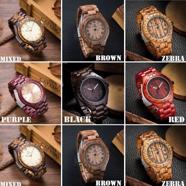 UWOOD Men's Wooden Roman Numbers Natural Wood Quartz Watches 6