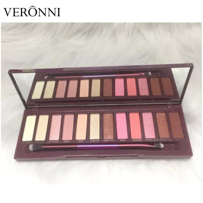 New arrival Makeup Palette 12 Color Nude Cherry Eyeshadow Palette With Brush 12 Eye Shadow Shades