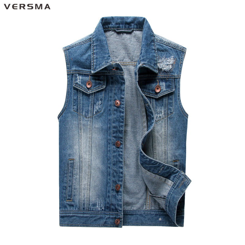 VERSMA Mens Denim Vest Chaleco Hombre Jaqueta Masculina Waistcoats Vests for Men Jeans Vest Vintage Men Sleeveless Jacket Coat