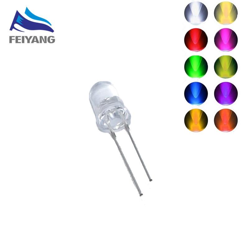 1000pcs 5MM Led White/blue/red/yellow/green/pink/purple Light Bulbs / 5MM White Colour LED Emitting Diode F5 White/UV LED