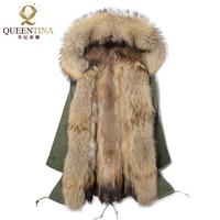 Натуральный мех енота парка с капюшоном длинные енота меховой воротник 2018 новое зимнее теплое пальто толстый натуральный мех парки Для жен