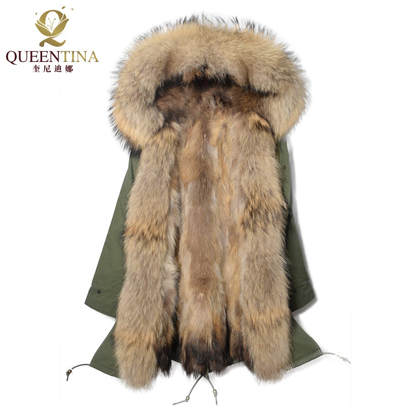 Real Raccoon Fur Hooded Parka Long Raccoon Fur Collar 2017 New Winter Warm Coat Thick Real Fur Parkas Women Natural Fur Jacket raccoon big fur winter warm down jacket 2017 new men thick hooded coat long mens parka jacket high quality brand 3 color 790