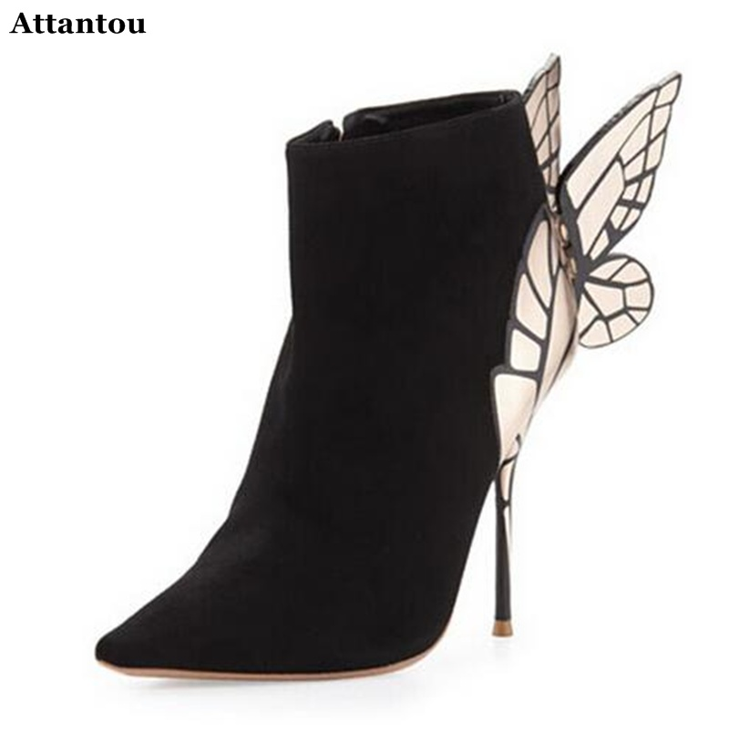 Fashion Black Suede Leather Back Wing Ankle Boots Pointed Toe Stiletto Heels Butterfly Bota shoes woman High Heel Pumps Dress sh summer autumn fashion ankle wrap back zipper pointed toe stiletto heel pumps concise strappy crisscross sueded high heels