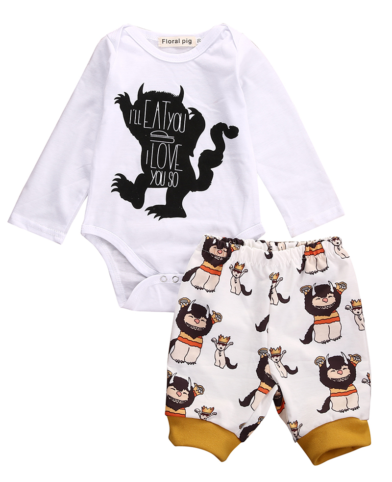 New Casual Baby Boy Girls Print Monster Letter Long Sleeve Tops Romper+Plant Leggings 2pcs Outfits Clothes Set 0-18M