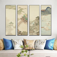 Classical Japan Ukiyo e Painting 4Pcs/Set Landscape Canvas Printings Mountain River Sailboat Scenery Wall Art Picture for Decor