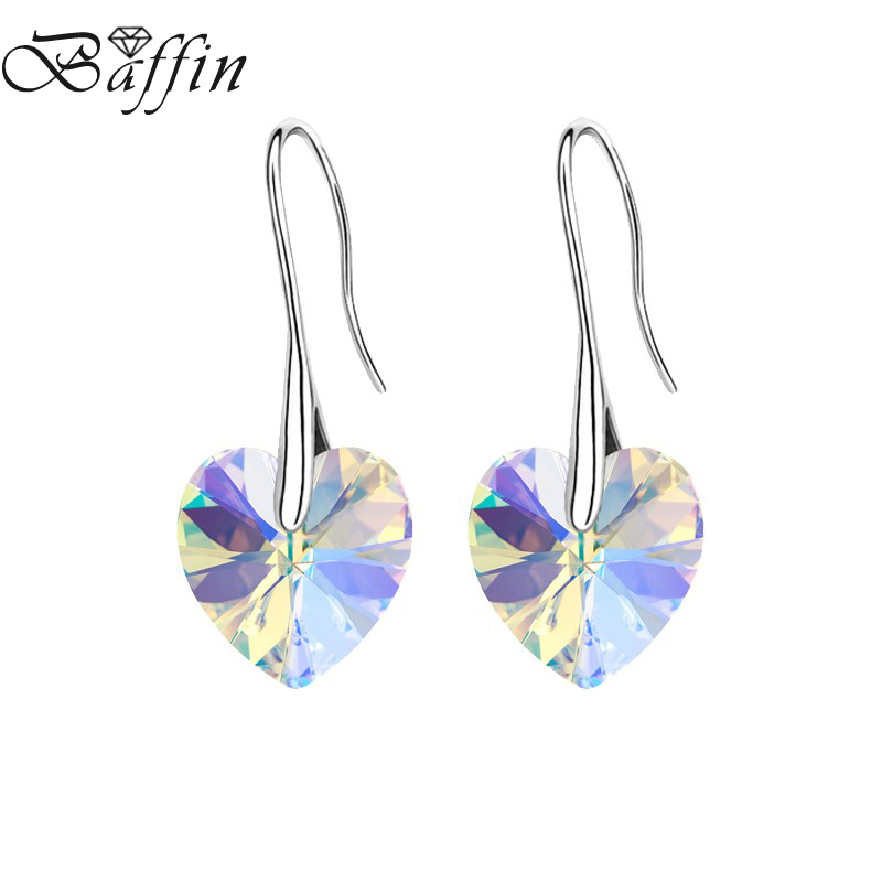 2Pairs/Lot BAFFIN Crystal Heart Drop Earrings Made with SWAROVSKI ELEMENTS Hanging Piercing For Women Best Friends Gift baffin crystal aurore boreale page 2