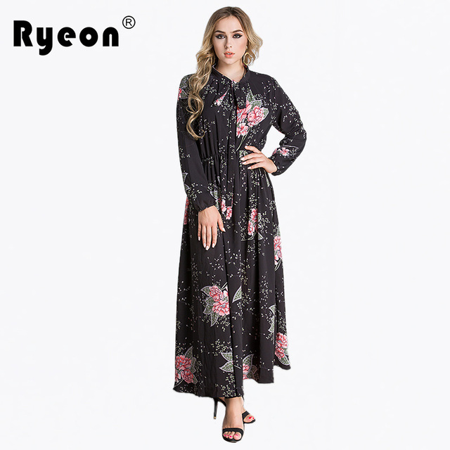 3839b6560a4 Ryeon 2018 Plus Size Vintage Summer Dress Printed Long Sleeve Ankle-length  Casual Spring Women