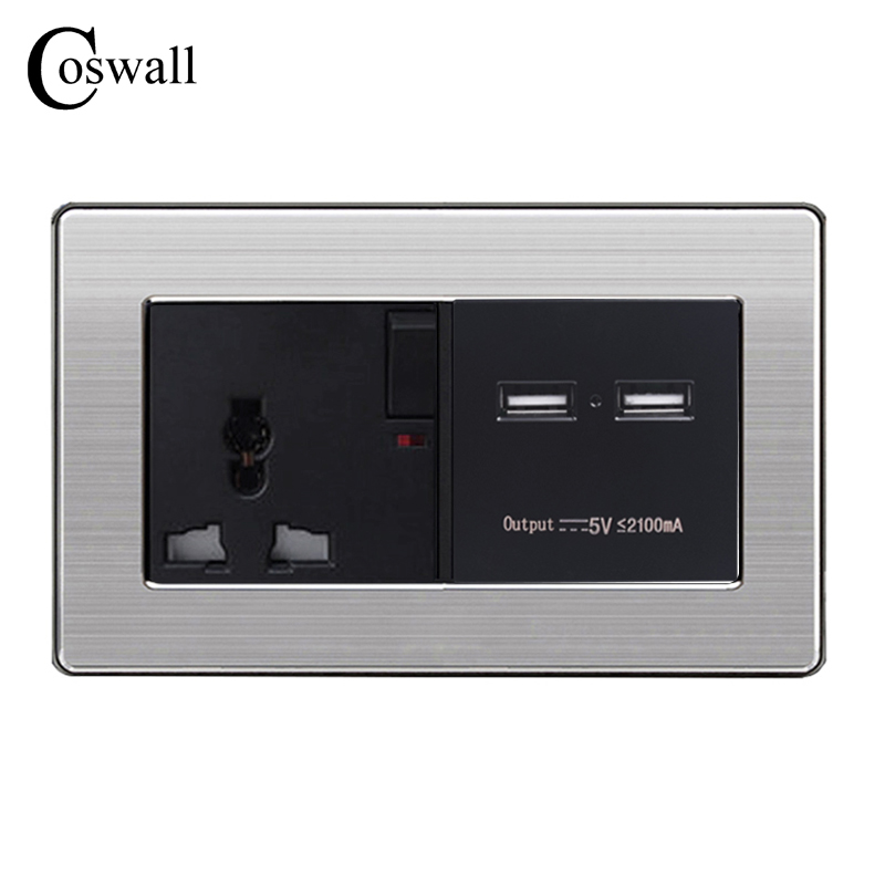 COSWALL Wall Socket Universal 3 Hole Power Outlet Switched With Dual USB Charge Port For Mobile 5V 2.1A Stainless Steel Panel coswall wall socket uk standard power outlet switched with dual usb charge port for mobile 5v 2 1a output stainless steel panel