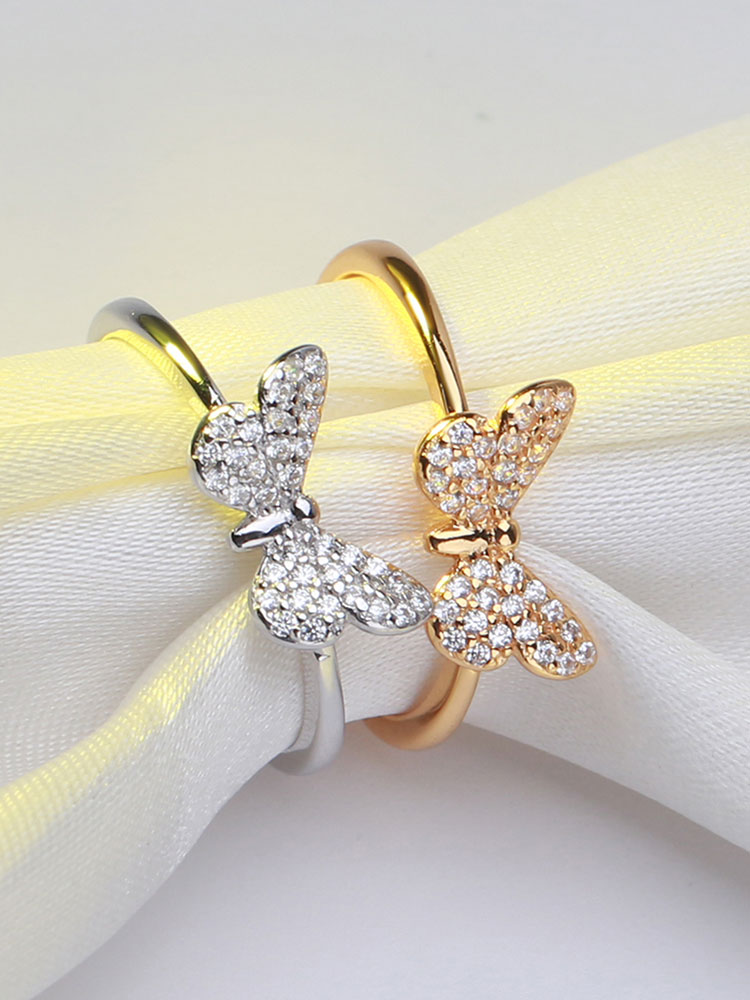 925-Sterling-Silver Rings Jewelry Zircon Effie Queen Butterfly-Shape Female Silver/gold-Color-Ring