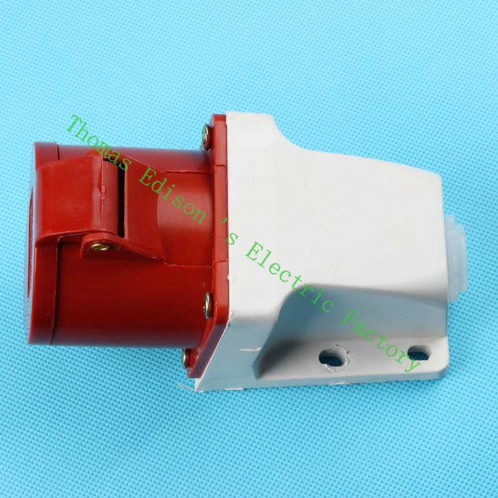 Industrial Socket Plug Coupler 124 CNQD-124 Red 32A 220V~415V 3P+E 4pin 60PCS/carton high quality ac 360 415v 16a ie 0140 4p e free hanging industrial plug red white