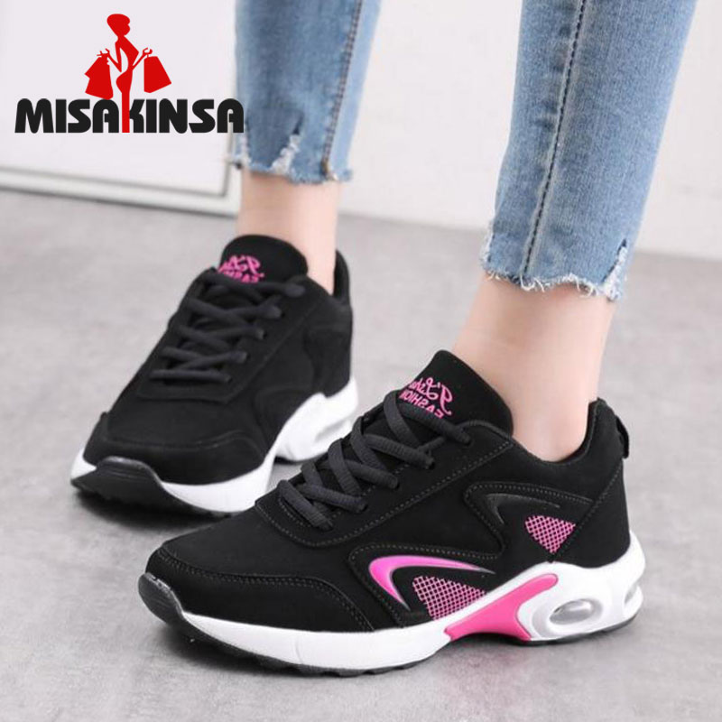 MISAKINSA Women Sneakers Lace Up Round Toe Mixed Color Air Mesh Breath Hiking Shoes Women Comfort Running Flats Shoes Size 35-40
