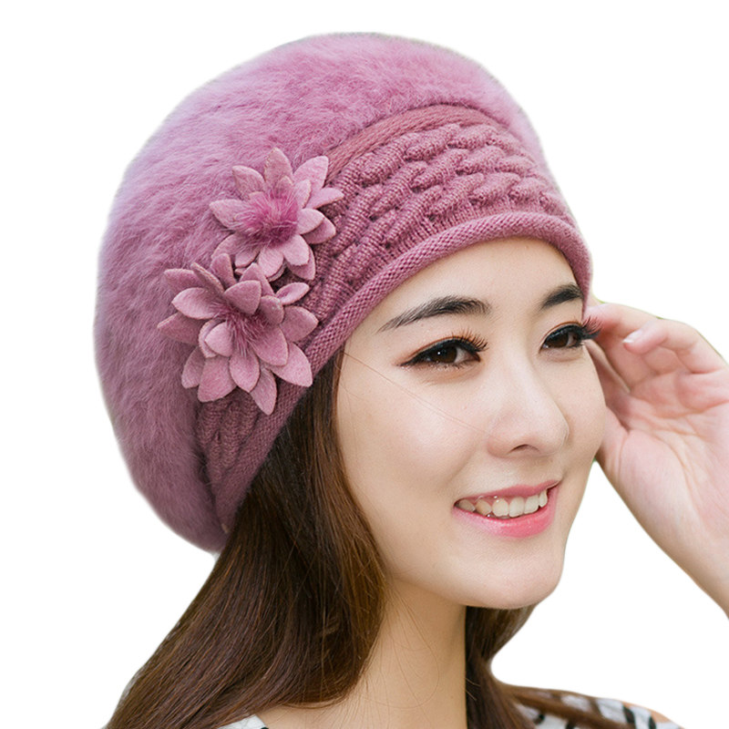 Warm Winter Hats for Women 2017 Wool Knitted Beret Beanies Female Caps Faux Rabbit Fur Braided Hats Gorros Cap Bonnet Femme knitted winter warm female hat rabbit fur beanie cap woman chunky baggy cap skull gorros de lana mujer bonnet femme beanies cap