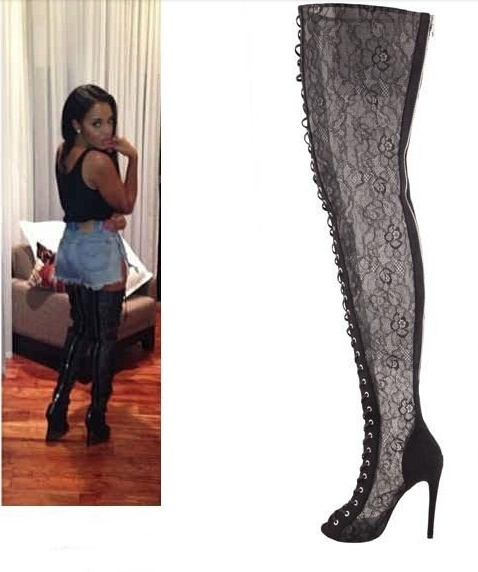 Hot women lace up boots sexy black lace thigh high boots high heel ...