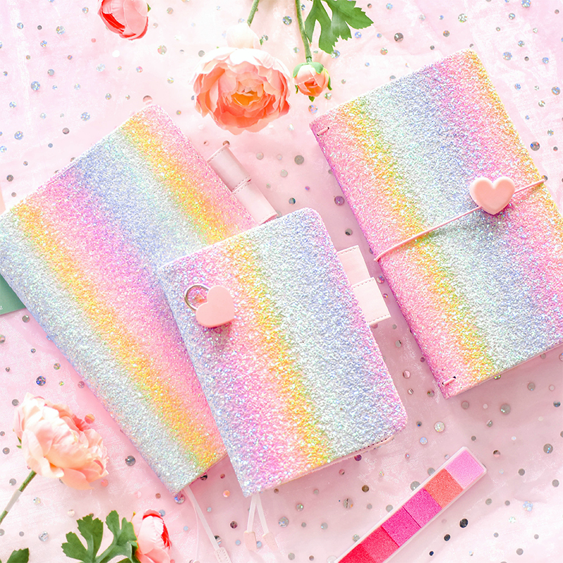 A5 A6 Korea Candy Cute Fashion Glitter Notebook Multi-function Cover Grid Blank Line Pages Agenda Bullet Journal Travelers Diary