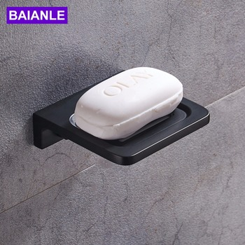 Free Shipping Modern Wall Mounted Soap Dishes Space aluminum Square Bathroom Black Soap Dish Holder free shipping solid brass orb oil rubbed bronze bath form bathroom holder soap dishes wall mounted holder rack
