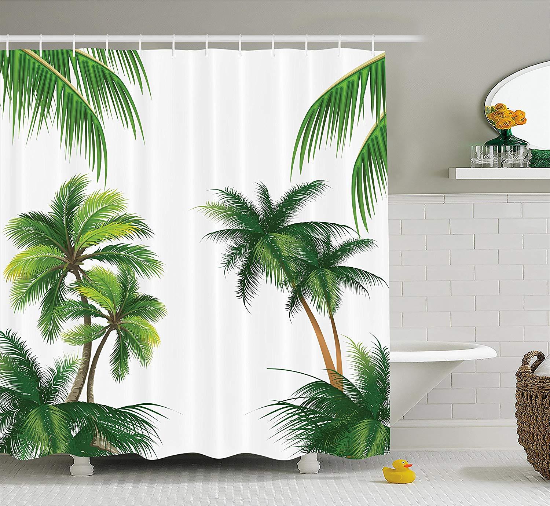 Us 13 47 50 Off Tropical Shower Curtain Coconut Palm Tree Nature Paradise Plants Foliage Leaves Digital Illustration Fabric Bathroom Decor In Shower