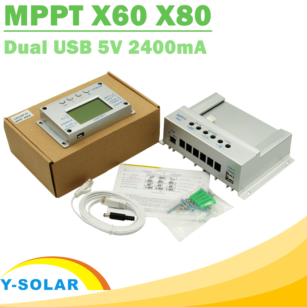 Y-SOLAR MPPT Solar Charge Controller 60A 80A 12V 24V Auto Big LCD Display with 2m Cable Regulated Power Supply Solar Charger USB mppt 60a lcd solar charge controller 12v 24v 48v auto switch mppt 60a solar charge controller mppt 60a charger controller
