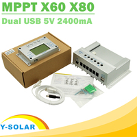 Y SOLAR Solar Charge Controller MPPT 60A 80A 12V 24V Auto Big LCD Display with 2m Cable Regulated Power Supply Solar Charger USB