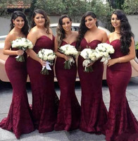 Бордовый Sexy Милая Кружева Русалка платья невесты фрейлина Свадебная вечеринка платье плюс Размеры платья для выпускного вечера