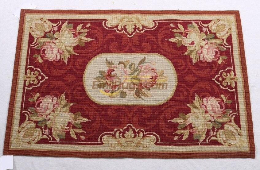 Bord Floral fait à la main pour grande aiguille Point tapis canapé couverture Vintage modernisme laine de mouton naturelle