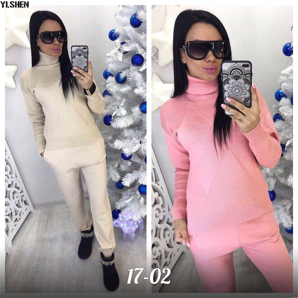 2 Two Piece Set Sweater Women Autumn Winter Knitted Tracksuit Turtleneck Sweaters Suit Outfits Knit Tops + Pants Matching Sets 05