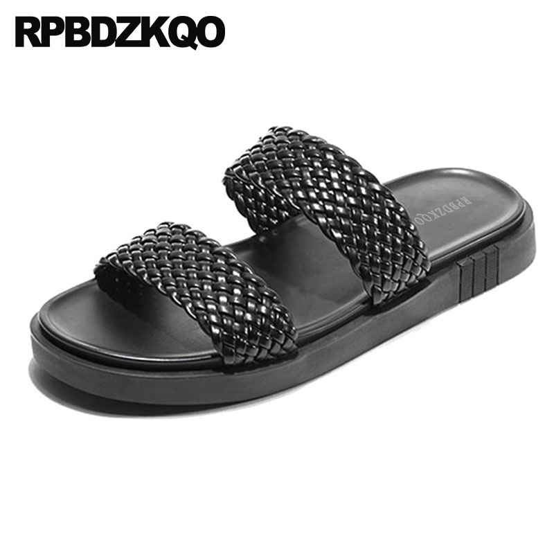 Sandals Flat Woven Luxury Black Genuine Leather 2018 Slides Designer Shoes Men High Quality Summer Slip On Breathable Slippers black flat casual designer sandals women luxury 2017 summer slip on embellished pearl soft slippers slides shoes open toe metal