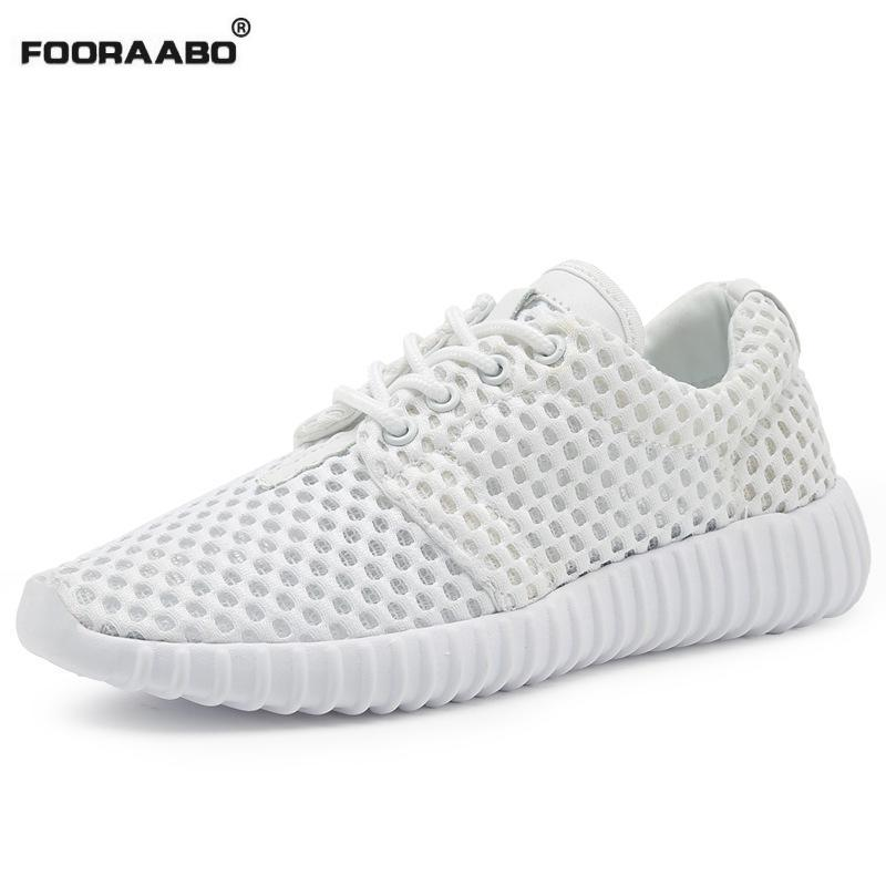 Fooraabo Female Platform Shoes White 2017 Summer Breathable Mesh Women Casual Shoes Lace-up Walking Shoes Women Flats akexiya women shoes for summer casual shoes lace up breathable mesh shoes unisex light platform flats 3 colors size plus 35 46