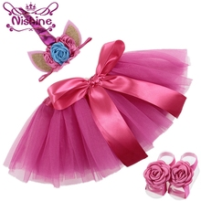 Nishine Hot Pink Newborn Unicorn Horn Headbands Dress Skirt Barefoot Sandals Cloth Sets Kids Photo Shoot Children Birthday Gift