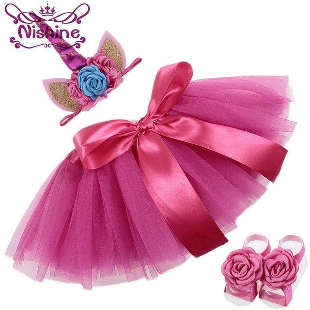 7ba2a39a2e2bc Nishine Hot Pink Newborn Unicorn Horn Headbands Dress Skirt Barefoot ...