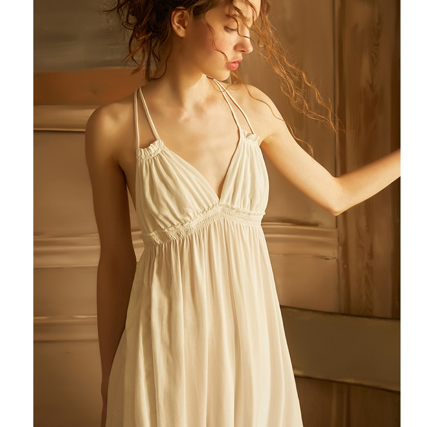 Summer Vintage Viscose Sleepwear Elegant Female Princess White Cotton Nightgowns Sleeveless Sexy LingerieNightgowns & Sleepshirts   -